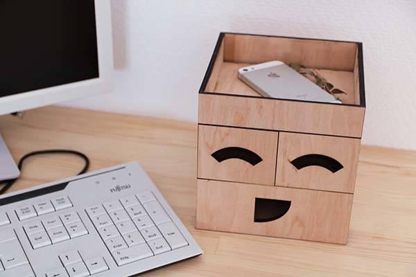 EmojiBox Handmade Wooden Desktop Organizer