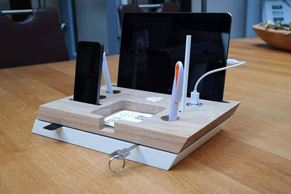 Handmade Desk Organizer with Charging Station