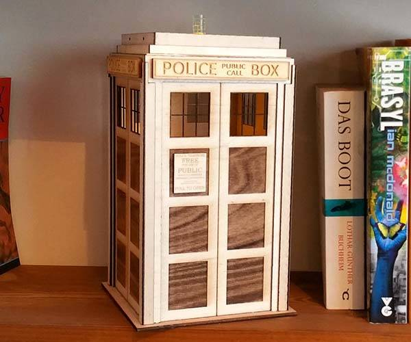 Handmade Doctor Who TARDIS Wood LED Lamp