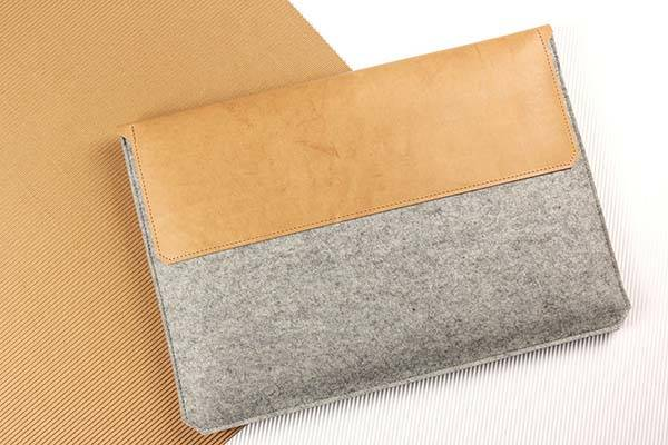 Handmade Felt and Leather Sleeve for MacBook Pro and Air
