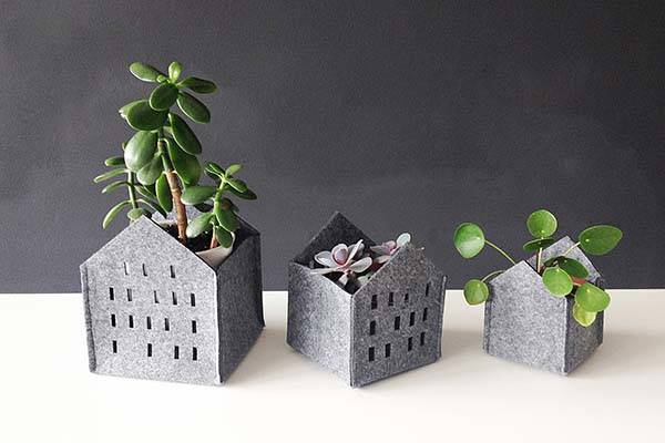Handmade Felt Plant Pot Container Set