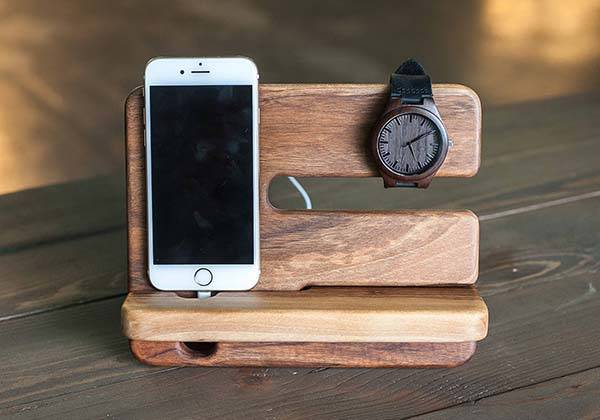 Handmade Personalized Wooden Charging Station with Desk Organizer