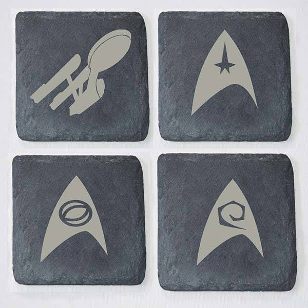 Handmade Star Trek Wooden and Slate Coaster Set