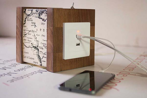 Handmade Wooden Accent Lamp with Two USB Ports