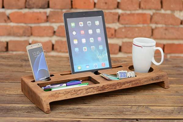 The Handmade Wooden Desk Organizer With Tablet And Phone