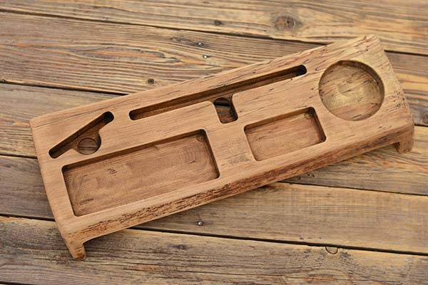 Handmade Wooden Desk Organizer with Tablet and Phone Holders