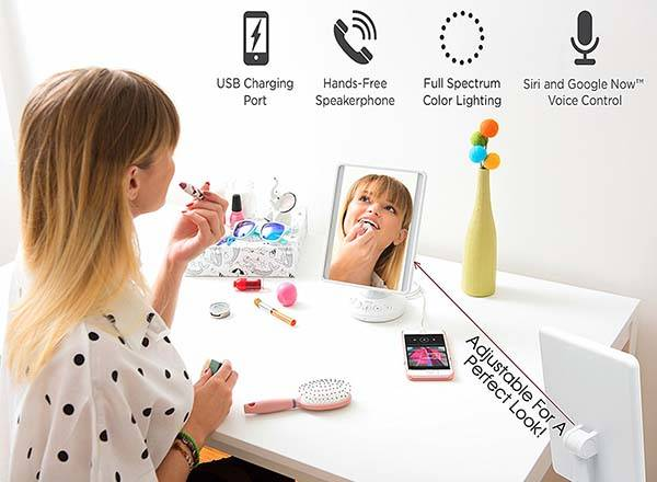 iHome iCVBT2 Vanity Mirror with Bluetooth Speaker and Flat Panel LED Lighting
