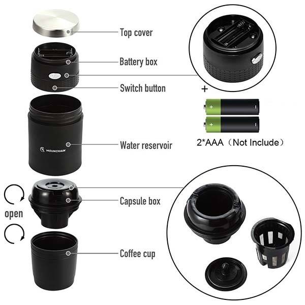 Mounchain Portable K Cup Coffee Maker With Reusable K Cup