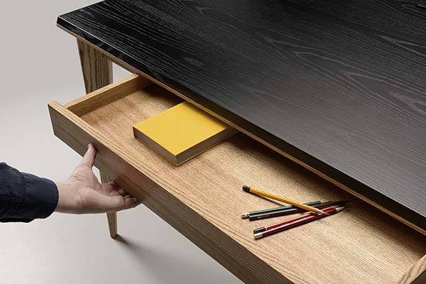 Ollly Wooden Desk with Compact Drawer, Phone, Tablet Stands and Desk Organizer