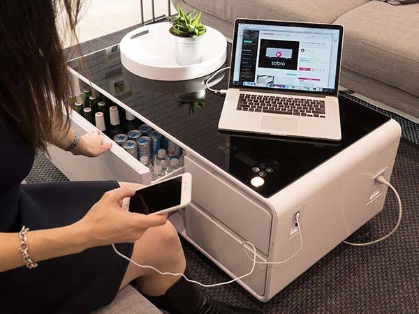 Sobro Coffee Table with Built-in Refrigerator, Bluetooth Speaker, Charging Station, LED Light and More