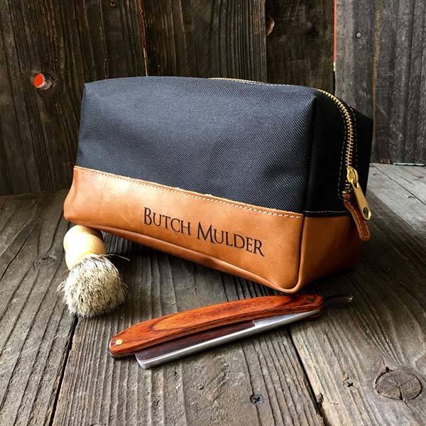 Customizable Handmade Canvas and Leather Dopp Kit
