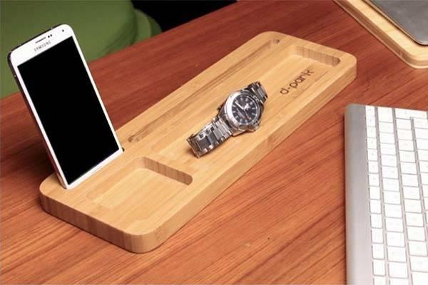 Handmade Minimal Bamboo Desk Organizer